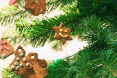 圣诞节曲奇饼姜饼结构树 库存照片