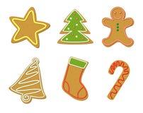 圣诞节曲奇饼形状 免版税库存照片