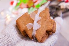 圣诞节曲奇饼手中手套 库存照片