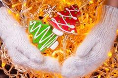 圣诞节曲奇饼手中手套 免版税图库摄影