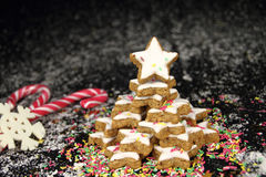 圣诞节曲奇饼星形结构树 库存图片