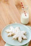 圣诞节曲奇饼牛奶 免版税库存照片