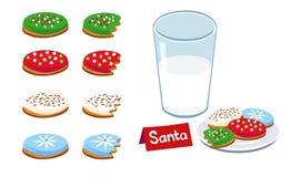 圣诞节曲奇饼牛奶 免版税库存图片
