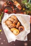 圣诞节曲奇饼礼物盒 自创欢乐烘烤概念,冷杉 图库摄影