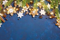 圣诞节曲奇饼边界背景 免版税库存照片
