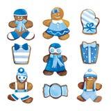 圣诞节曲奇饼-招呼滑稽的蓝色装饰的曲奇饼集合 图库摄影
