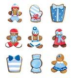 圣诞节曲奇饼-招呼滑稽的蓝色装饰的曲奇饼集合 库存图片