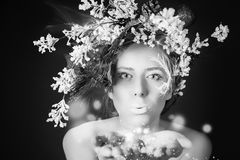 圣诞节有树发型和构成的,不可思议的神仙冬天妇女 免版税库存照片