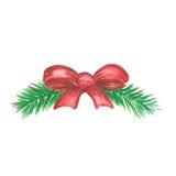 圣诞节有红色丝带的杉木枝杈 免版税库存图片