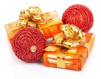 圣诞节有金丝带的礼物盒 库存图片