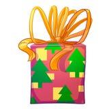 圣诞节有黄色弓的礼物盒 免版税库存图片