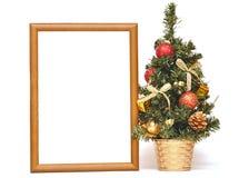 圣诞节木框架的结构树 库存图片