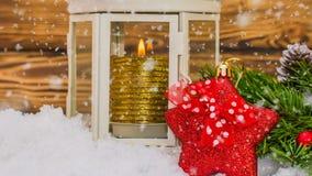 圣诞节木桌与新年和圣诞装饰和美好的降雪,新年的概念 影视素材