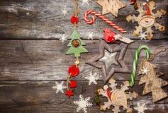 圣诞节木装饰 库存照片