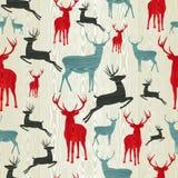 圣诞节木驯鹿模式 库存照片
