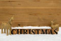 圣诞节木驯鹿静物画 免版税图库摄影