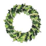 圣诞节杉木花圈 水彩和墨水剪影 库存例证