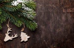 圣诞节杉树和装饰 库存图片