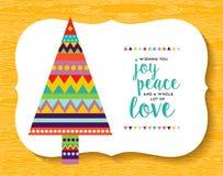 圣诞节杉树在乐趣颜色的几何设计 向量例证