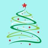 圣诞节杉树装饰了球和星在蓝色背景 免版税库存照片