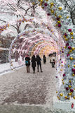 圣诞节村庄公平在Tverskaya街道上在莫斯科 免版税库存图片
