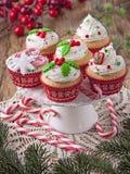 圣诞节杯子蛋糕 免版税图库摄影