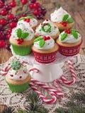 圣诞节杯子蛋糕 免版税库存图片