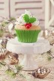 圣诞节杯子蛋糕 库存图片