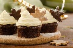 圣诞节杯形蛋糕用雪剥落曲奇饼 免版税图库摄影