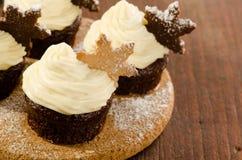 圣诞节杯形蛋糕用雪在上面,纺织品背景的剥落曲奇饼 库存照片