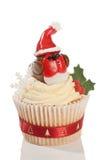 圣诞节杯形蛋糕知更鸟 库存照片