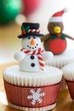 圣诞节杯形蛋糕 免版税图库摄影