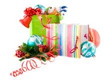 圣诞节极其dof浅礼品的程序包 免版税库存照片