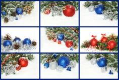 圣诞节构成拼贴画与装饰,礼物的和 库存图片