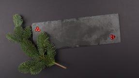 圣诞节构成模板、宝石和绿色分支在石头 平的位置,顶视图 装饰冬天样式 免版税库存图片
