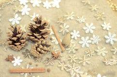 圣诞节构成用蜜桔,杉木锥体,束Cinnamonand雪花-装饰 免版税图库摄影