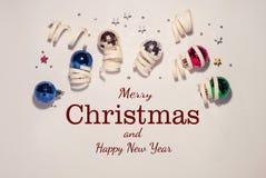 圣诞节构成,圣诞节玩具 免版税图库摄影