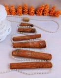 圣诞节构成从纸雪花和肉桂条,珍珠,开心果的圣诞树 免版税库存照片