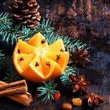 圣诞节果子和香料背景 库存图片