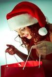圣诞节某人储存镶边了惊奇脚尖对结构树xmas 图库摄影