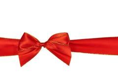 圣诞节查出的红色丝带白色 免版税库存照片