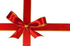 圣诞节查出的红色丝带白色 免版税图库摄影