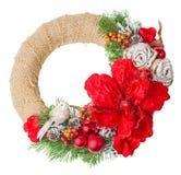 圣诞节查出的花圈 免版税库存图片