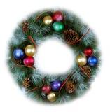 圣诞节查出的软的花圈 免版税库存照片