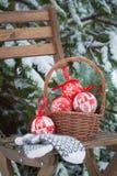 圣诞节树在一个篮子和羊毛手套戏弄在椅子 库存图片