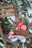 圣诞节树在一个篮子和羊毛手套戏弄在椅子 库存照片