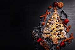 圣诞节树型鸦片蛋糕和黑空间文本的 图库摄影