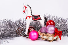 圣诞节树装饰在一个假日之前 库存图片