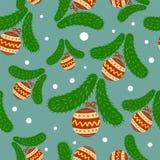圣诞节样式与新年戏弄包括xmas树,球,雪花海报的艺术装饰线型的金子颜色 皇族释放例证