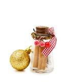 圣诞节桂香欢乐瓶子 库存图片